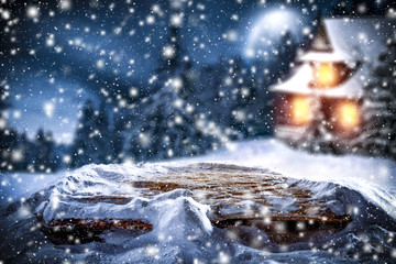 christmas background of snow and frost