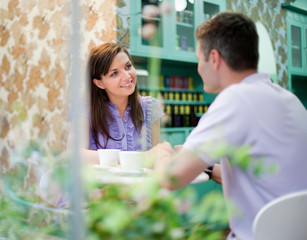 Couple in cafe store