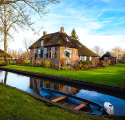 Canal in Giethoorn at sunny  winter morning, Netherlands.