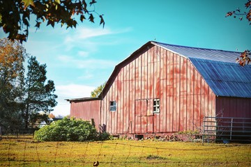 An old red wooden barn in a field.