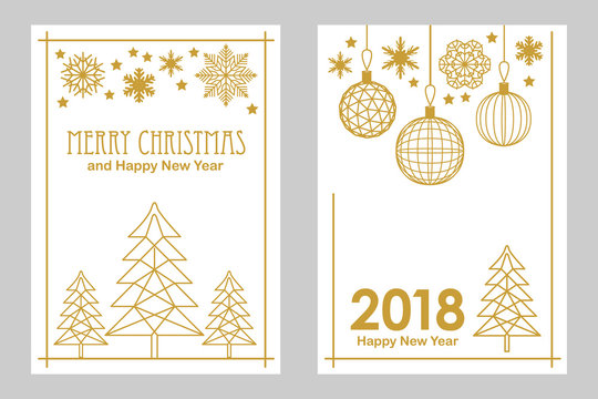 Geometric white and golden Merry Christmas and Happy New Year cards. Snowflakes, fir tree, festive decorations.