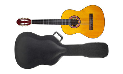Musical instrument - Acoustic classic guitar hard case isolated