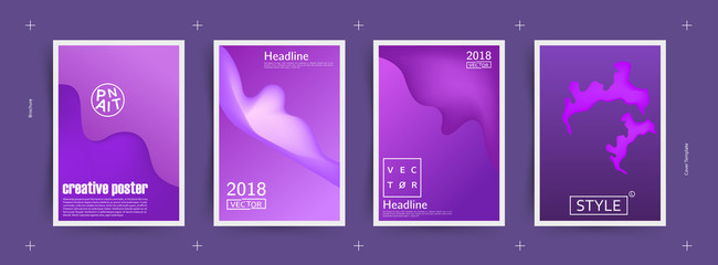 Covers with abstract design. Cool modern gradients. Applicable for Banners, Placards, Posters, Flyers and Designs. Ultraviolet color of 2018. Eps10 vector.