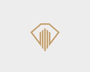 Diamond real estate logo design. Luxury home construction idea vector logotype. Gem shield house premium symbol.