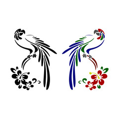 Silhouette of two parrots (color and black), cartoon on white background,