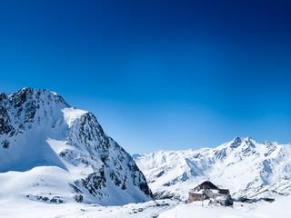 Italian Alps around Maso Corto. Beautiful view of the mountains in winter in a popular ski resort.