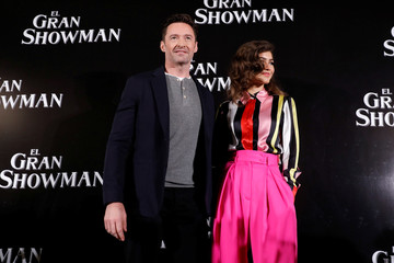 "Australian actor Hugh Jackman poses for photographers next to American actor Zendaya ahead of a premiere of their film, a musical directed by Michael Gracey called ""The Greatest Showman"", in Mexico City"