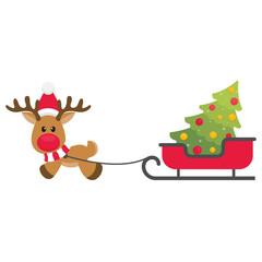 cartoon christmas deer vector with sleigh and fir tree