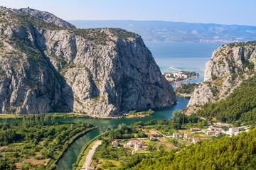 Omish, Croatia, panorama, the Cetina river basin in the sea