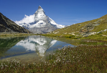 ZERMATT-MATTERHORN - Riffelsee in der Wollgrasblüte mit Matterhornspiegelung