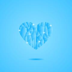 Frozen Heart on Blue Background