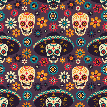Day of the Dead. Seamless vector pattern with sugar skulls and flowers on dark background.