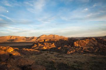 Aluminium Prints Texas Sunset landscape view at Hueco Tanks State Park in El Paso, Texas.