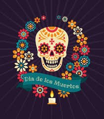 Dia de los muertos. Day of The Dead vector poster with sugar festive skull, wreath of flowers, ribbon with inscription on dark background.