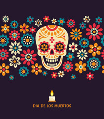 Dia de los muertos. Day of The Dead vector poster with smiling sugar festive skull, surrounded by colorful flowers, isolated on dark background.