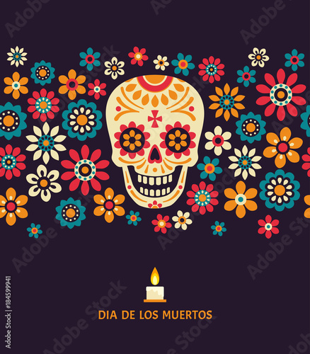 Day Of The Dead Vector Poster With Smiling Sugar Festive Skull
