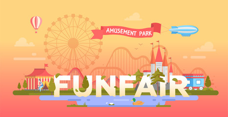 Funfair - modern vector banner illustration