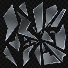 Broken glass shards - modern vector realistic isolated clip art