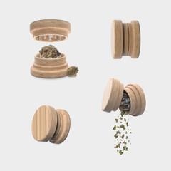 Medical Cannabis - Marijuana Herb Wood Grinder - Isolated