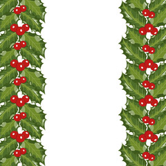 Vector illustration for Christmas with a border of Holly leaves