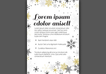 Christmas Flyer with Metallic Snowflake Elements 1