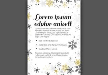 Christmas Flyer with Metallic Snowflake Elements 1