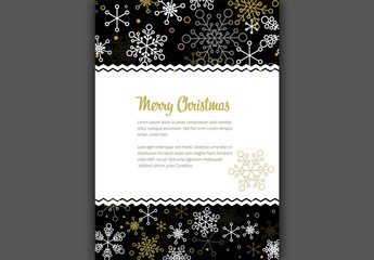 Christmas Flyer with Snowflake Elements