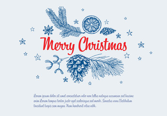 Christmas Card with Hand-Drawn Nature Illustrations 2