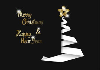 Christmas and New Year's Card with White Ribbon Tree and Gold Text