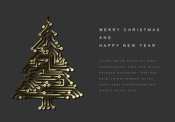 Christmas and New Year's Card with Gold Circuit Tree