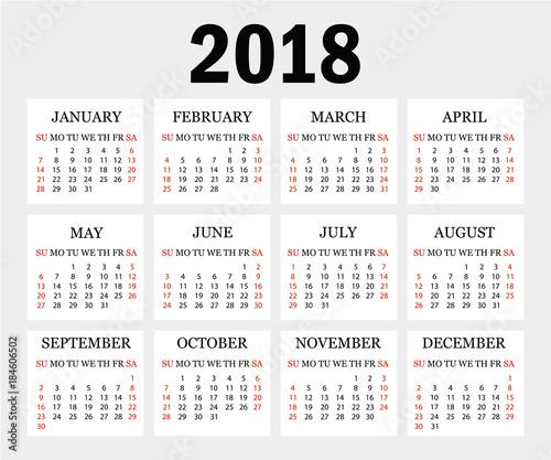 Calendar 2018 Simple Calendar Template For Year 2018 Grey