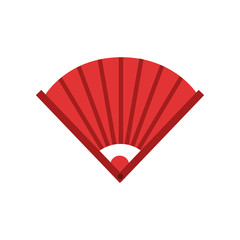 Traditional chinese bamboo hand fan. Icon in red color. Feng shui talisman or protective amulet. Isolated flat vector element for decoration