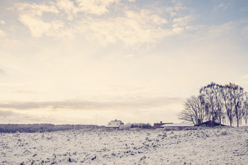 Winter landscape with a small farm house