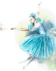 Ballerina fairy ballet dancer nutcracker watercolor painting illustration isolated on white background