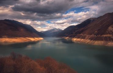 Lake jinvali in Georgia, Caucasus. autumn season