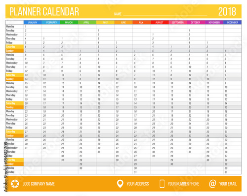 English calendar planner for year 2018  12 months, corporate design