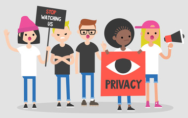 Mass protest, flat editable vector illustration. Privacy in the internet. Stop watching us. Multicultural group of young adults claiming their demands.