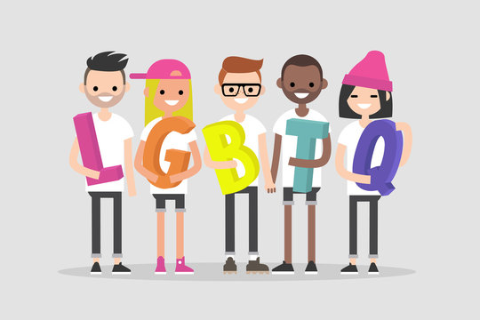 Love parade. A group of people holding a  LGBTQ sign. Gay community. Human rights. Flat editable vector illustration, clip art