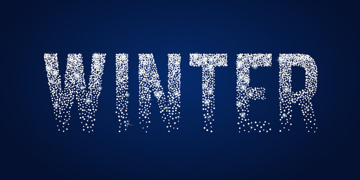 Winter shiny white typographic text. Holiday Season theme design template. Greeting card with sparkles, confetti, shine stars, twinkles on dark blue background. Xmas 2018 Vector graphic illustration