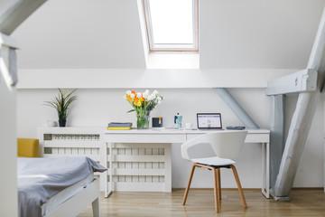 Bright bedroom interior.