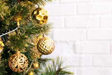 Christmas tree and decoration with gold ball