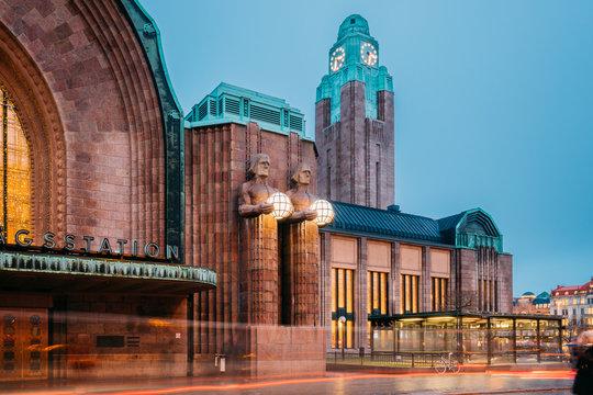 Helsinki, Finland. Night View Of Statues On Entrance To Helsinki