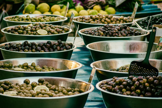Various types of olives sold on bazaar