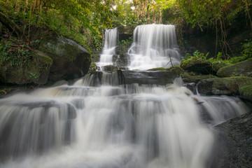 The beautiful landscape of Mun Daeng waterfalls in Phu Hin Rong Kla national park of Thailand.