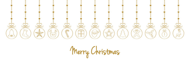 Christmas wishes with hanging balls - hand drawn decorations. Vector.