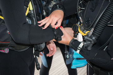 scuba diving. buddy check. Divers check equipment serviceability from each other. sport and hobby Wall mural