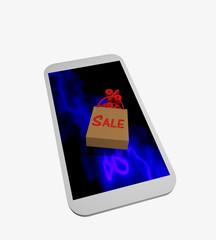 Handy auf dessen blauem Display eine umgekippte Einkaufstasche mit dem Text Sale liegt, aus der Prozentzeichen fallen.