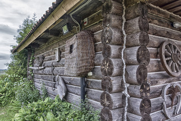 The wall and the corner of a Russian village log hut