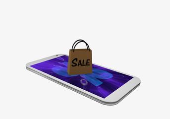 Handy mit einem Prozentzeichen und einer Einkaufstasche mit dem Text Sale, auf einem violetten Display.