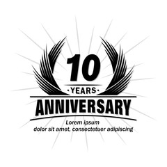 10 years design template. Anniversary vector and illustration template.
